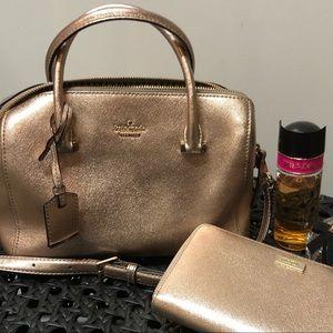 Kate Spade Handbag and wallet - pink metallic